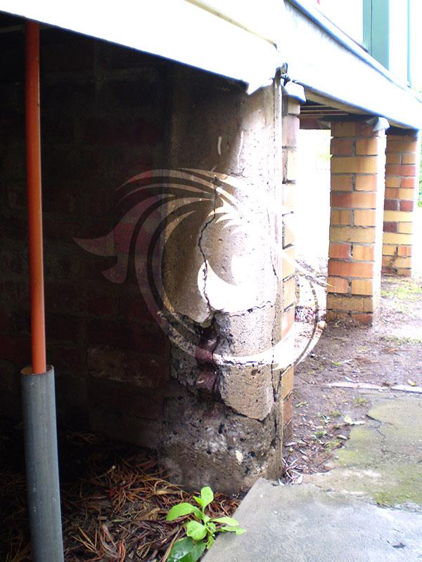Cast concrete pier broken due to re-enforcement rusting.